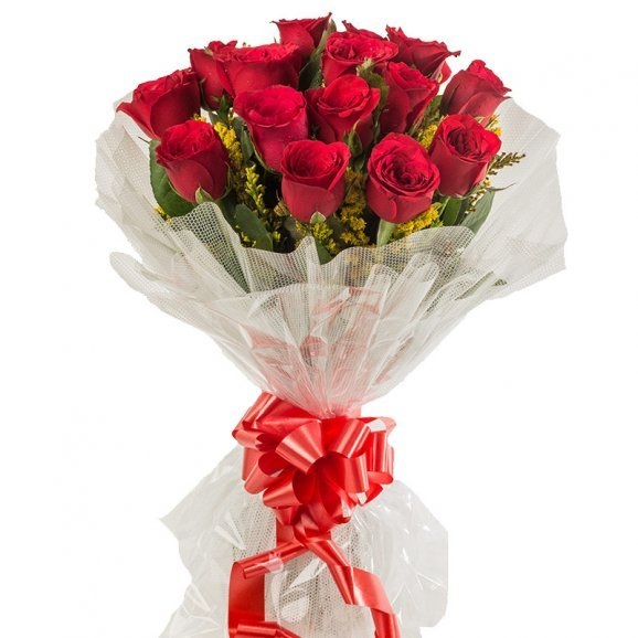 15 Red Roses Bunch with Close View