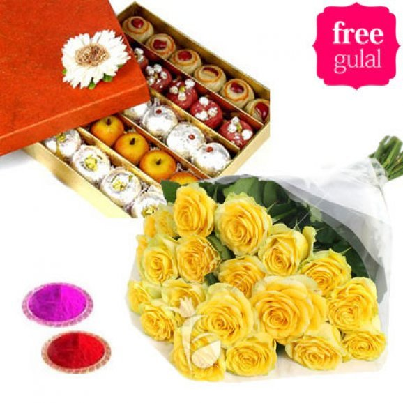 Yellow roses and assorted sweets