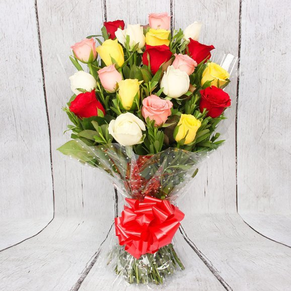 20 Mixed Color Roses in Beautiful Packaging