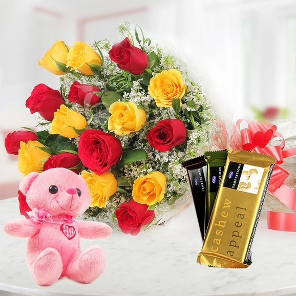 Combo of Mixed Roses with a Teddy and Chocolates
