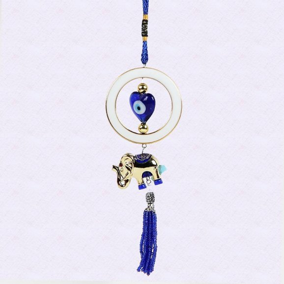 Good luck charm ornament made up of miniature elephants and has blue silver accents