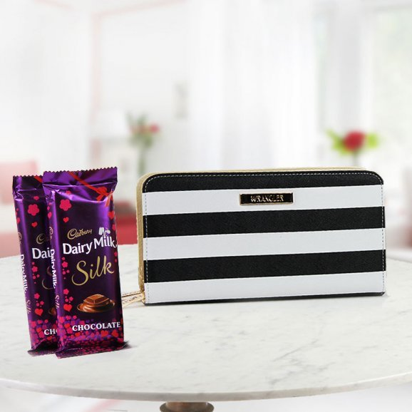 A combo for any female - A Wrangler wallet with 2 Dairy Milk Silk chocolate
