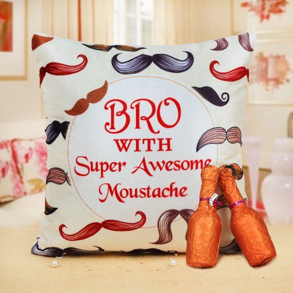 Awesome Bro Moustache Cushion and 2 Champagne Shaped Chocolates