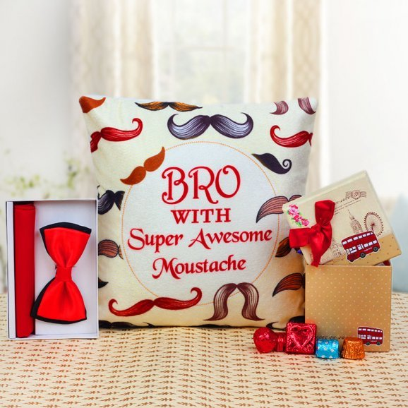 Bro Cushion with Bow and 5 Handmade Chocolates in a Box