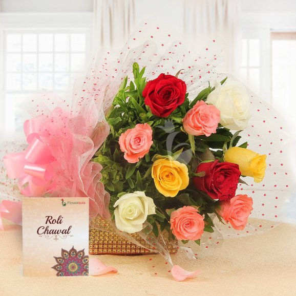 10 Mixed Color Roses Bunch with Roli Chawal