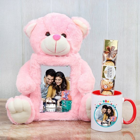 Teddy Bear with Picture Frame in Center