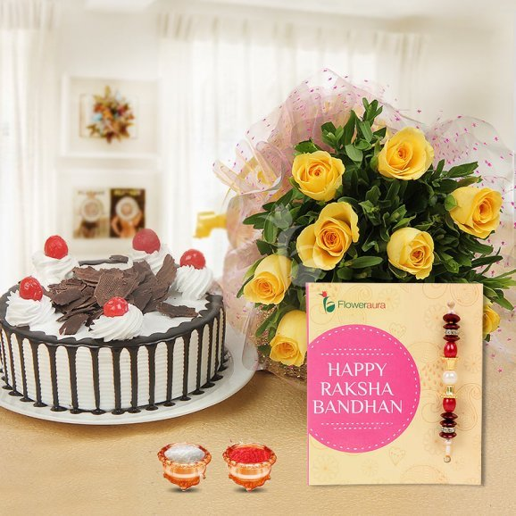 Bosom Buddy Combo of 1 Rakhi, 10 Yellow Roses Bouquet, 1/2 kg Black Forest, A pack of Roli & Chawal