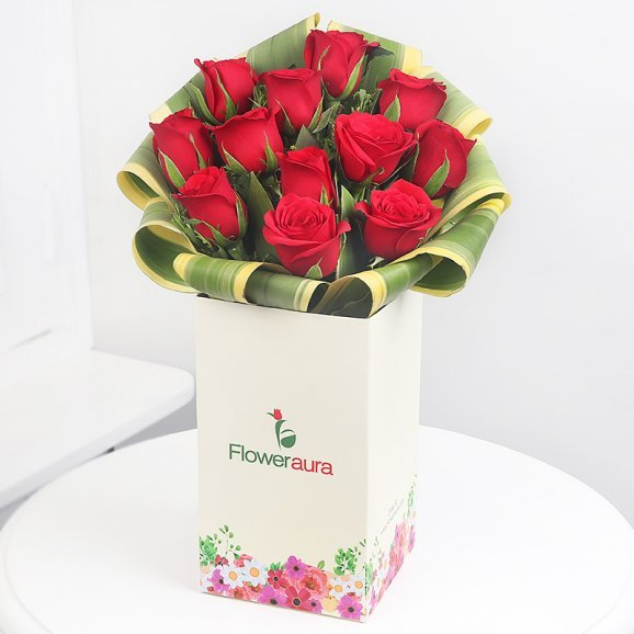 12 Red Roses in Floweraura Box with Beautiful Design