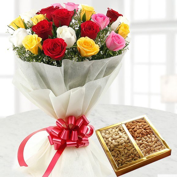 12 Fresh Mix Roses and a Half Kg Pack of Dry Fruits