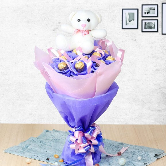 Chocolecious Teddy Bunch - A combo of Ferrero Rocher chocolate bouquet and a six inches teddy
