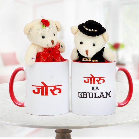 A combo of 3 inches Teddies and Pair of Joru and Joru ka Ghulam Coffee Mugs