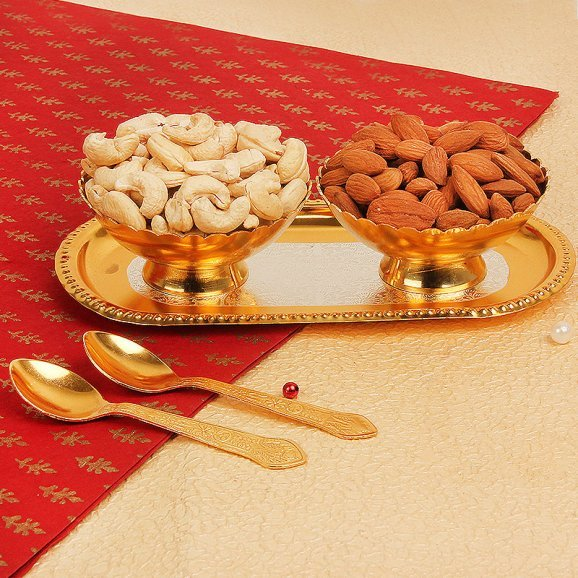 Set of Gold Plated Bowl Tray and Spoons with Dry Fruits