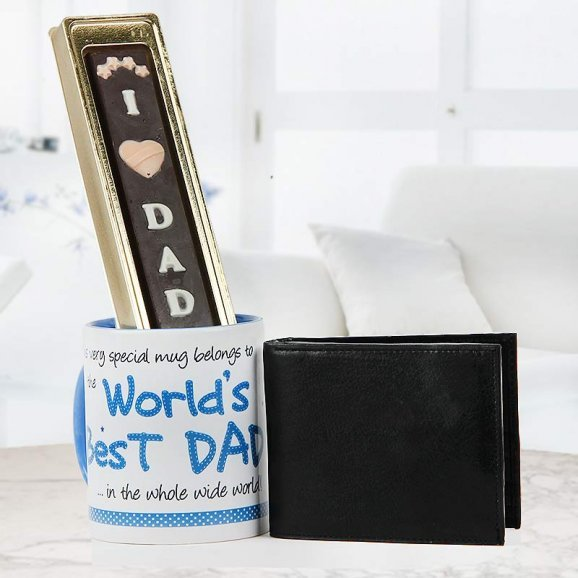 World's best dad quoted white and blue duotone mug with black wallet and I love dad handmade chocolate - For fathers