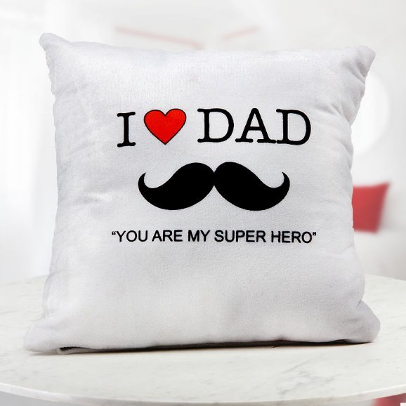 Dad you are my Super Hero quoted personalised white cushion