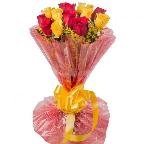 18 Red and Yellow Roses in Beautiful Packaging
