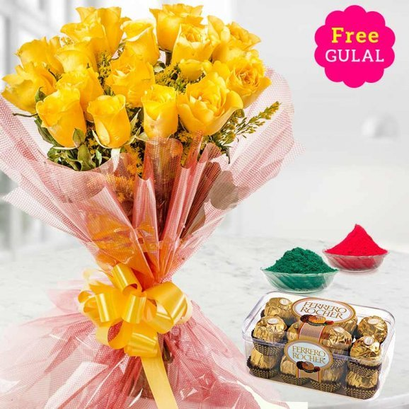 Yellow flowers bunch with Ferrero Rocher and gulal for Holi