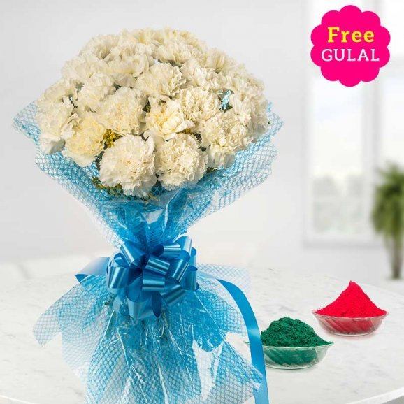 Holi flowers - Yellow roses bunch with gulal