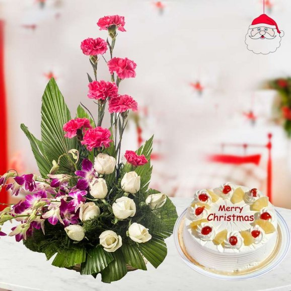 a beautiful bunch of 9 white roses, 8 pink carnations and 4 purple orchids with a 1/2 kg freshly whipped pineapple cake for Christmas