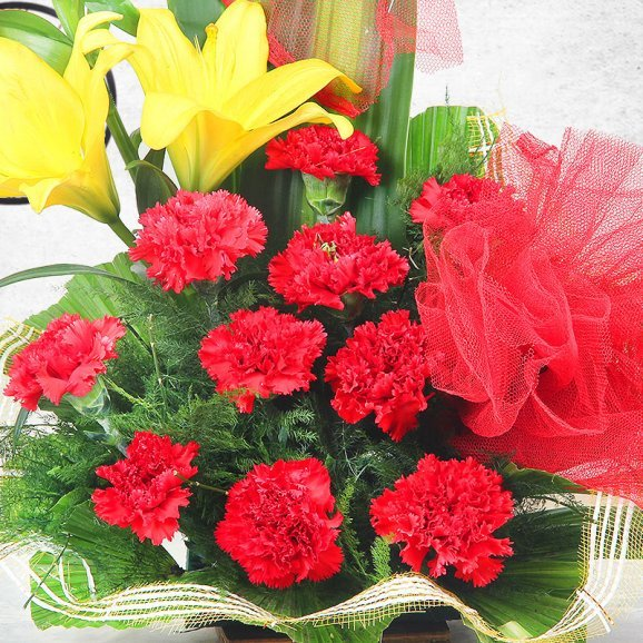 6 Yellow Lilies 10 Red Carnations and 10 Yellow Carnations in Zoomed View