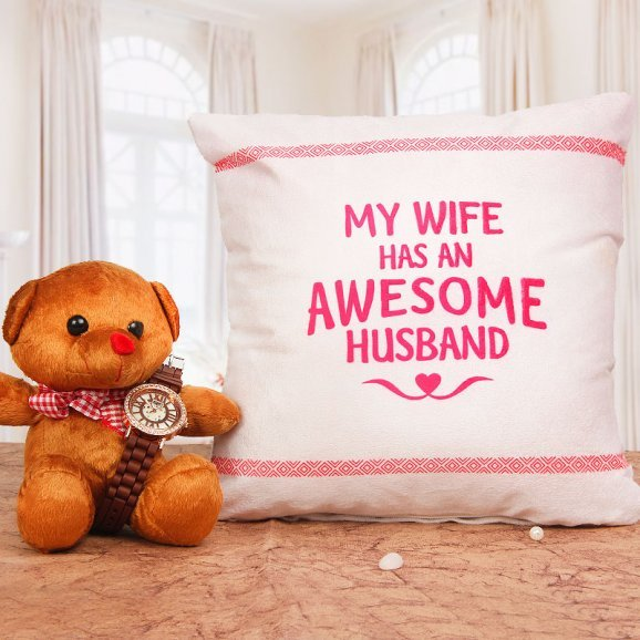 Womens Watch with a Teddy and Cushion Combo