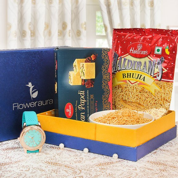 watch and haldiram gift combo