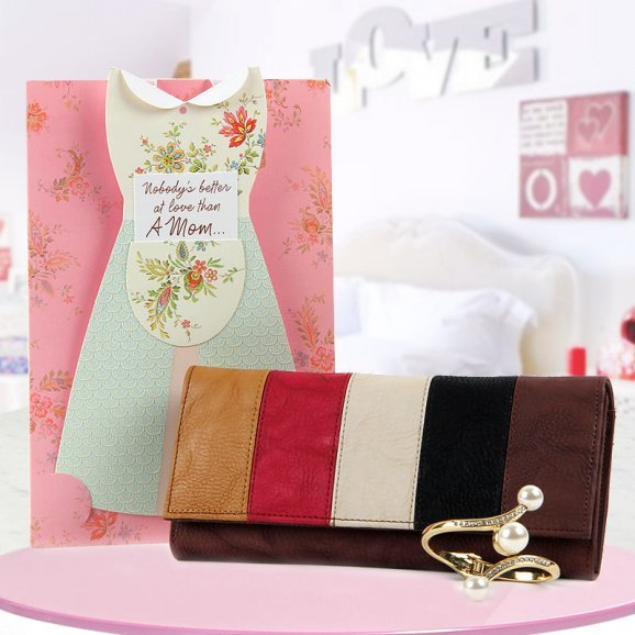 Mother Love Card with a multi-colored clutch and an artificial jewellery - For Mothers day