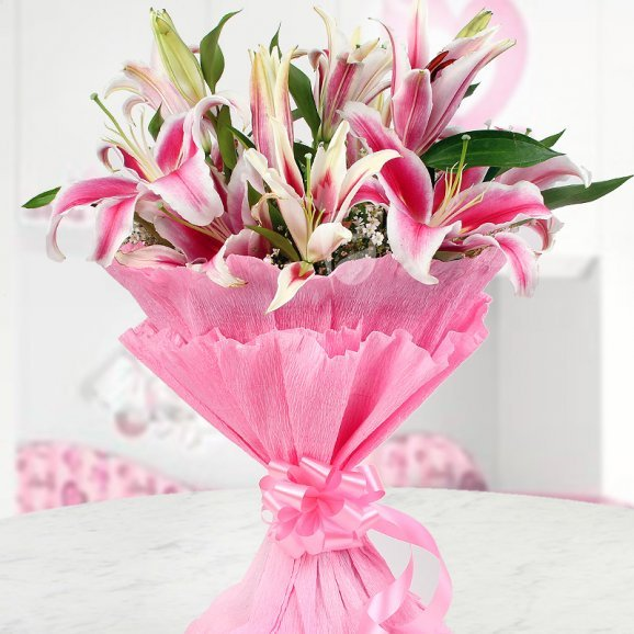 Arrangement Of 6 Beautiful Pink Oriental Lilies