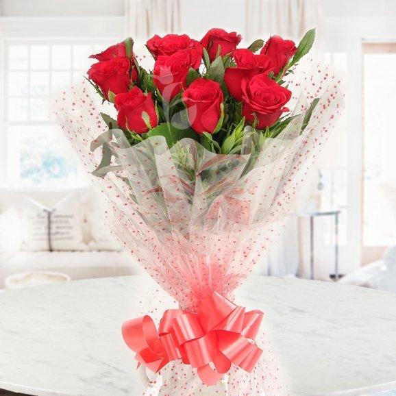 Front view of 10 Red Roses Bouquet - A gift of Infinite Adoration Combo