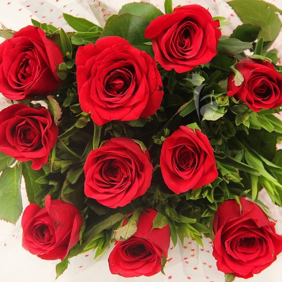 Top view of 10 Red Roses Bouquet - A gift of Infinite Adoration Combo