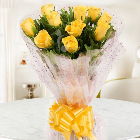 Front view of 10 Yellow Roses Bouquet - A gift of Bosom Buddy Combo
