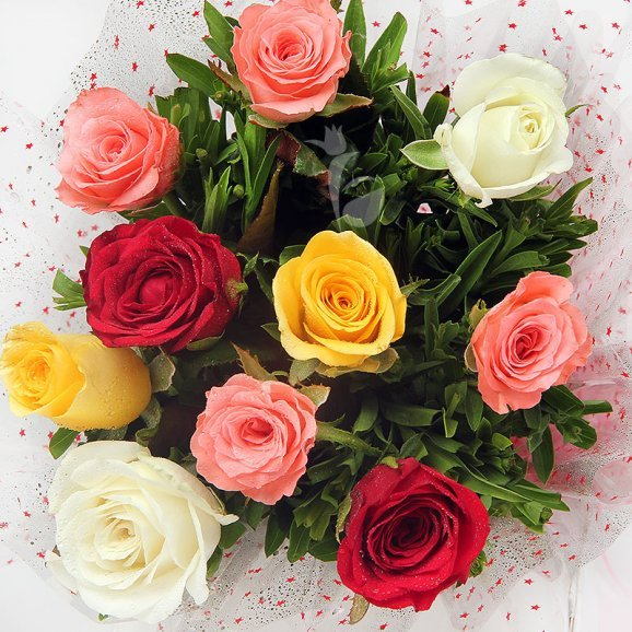Front view of 10 Mixed Roses Bouquet - A gift of Favourite Brother Combo