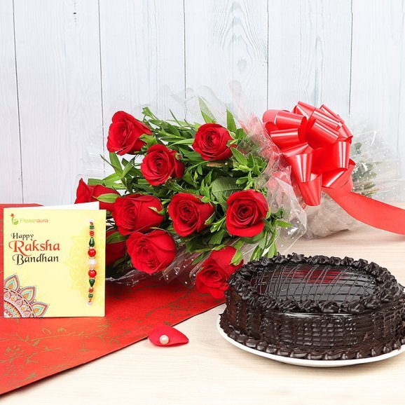 Rakhi with Red Roses and Cake with Rakhi
