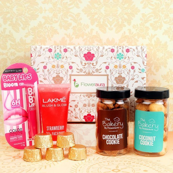 100 gms Coconut and Chocolate Cookie Five Handmade Chocolates Lakme Blush and Glow Face Wash Baby Lips Balm