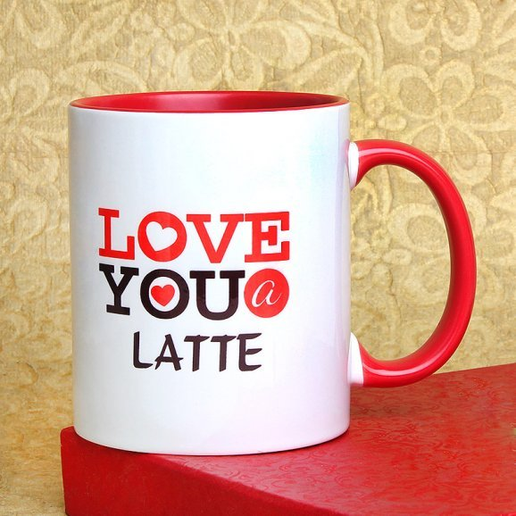 Love You A Latte Printed Mug with Front Sided View