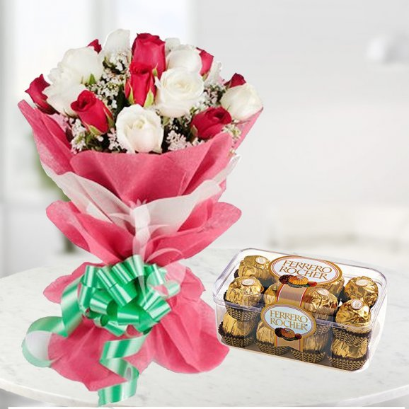 20 Red and White Roses with a Box of 16 Pieces Ferrero Rocher Chocolates