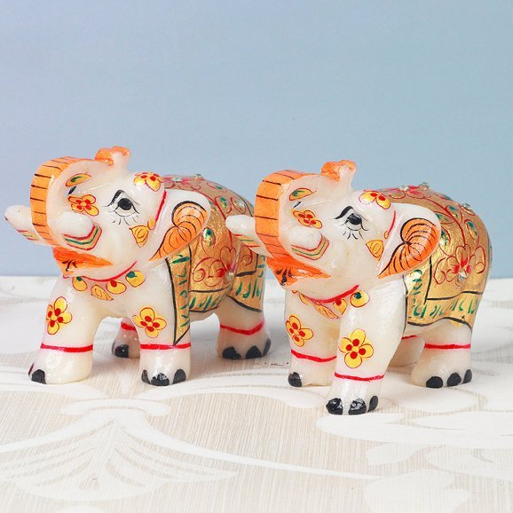 Marble Elephant Twins for Home Decor