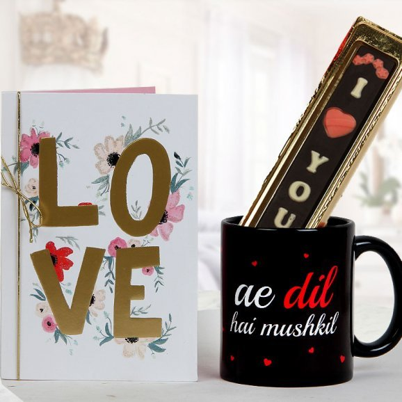 A beautiful LOVE Card A pack of handmade I Love You chocolate and A dil hai mushkil cup