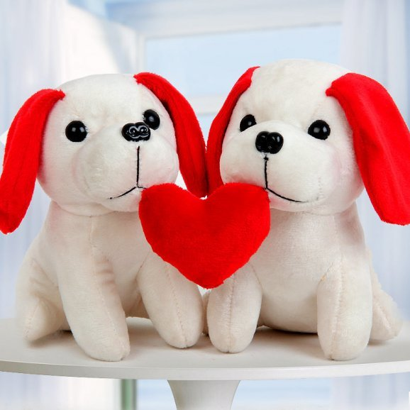 A big basket of 6 inches white and red soft toy puppy with heart
