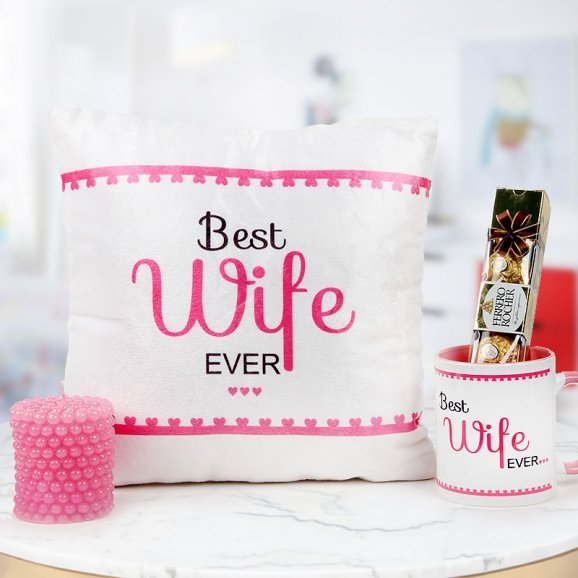 Best wife ever mug and cushion with ferrero rocher chocolate and scented candle