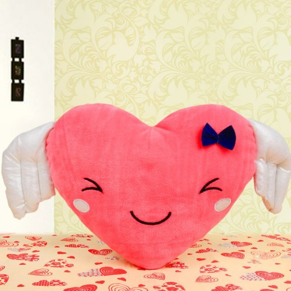 Heart shaped pink cushion