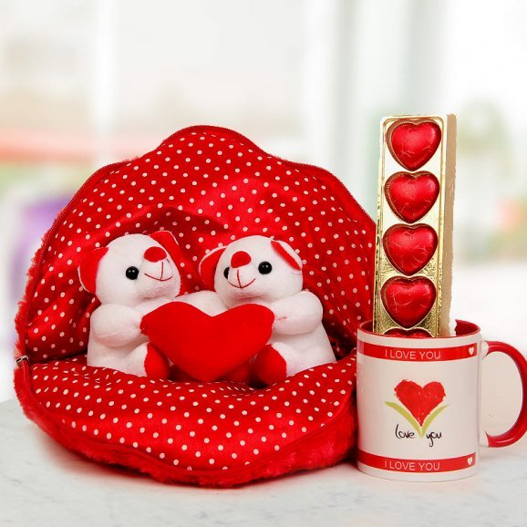 Couple set of Teddies in a polka dotted cover A pack of handmade chocolates and A Coffee Mug