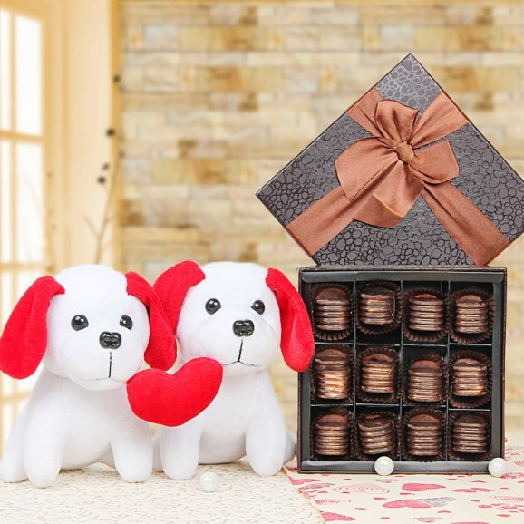 Handmade chocolates and teddy combo
