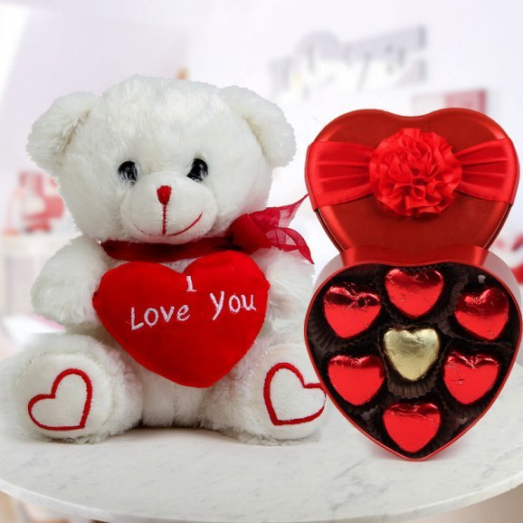 A 6 inch white teddy with I Love You heart and A heart-shaped box of handmade chocolate