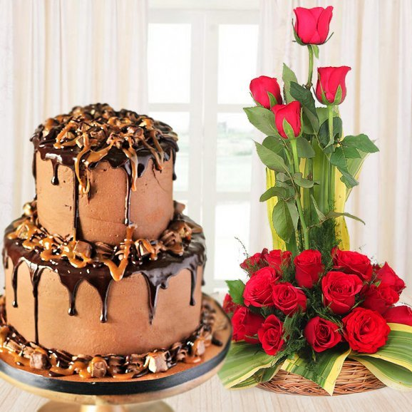 Decadent Delicious Affair - Amazing Combo of 2 tier chocolate cake and 18 red roses in a basket