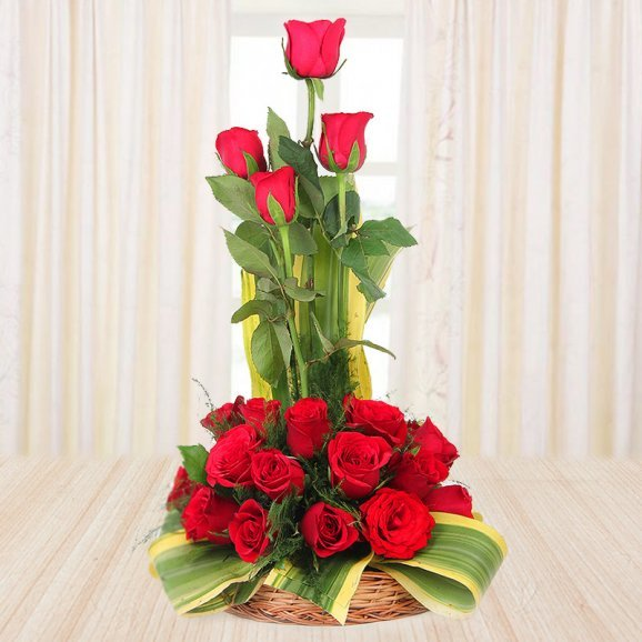 18 red roses in a basket - 1st gift of Decadent Delicious Affair
