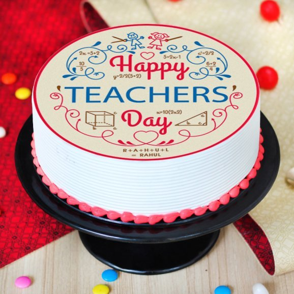Teachers Day Poster Cake - Zoom View