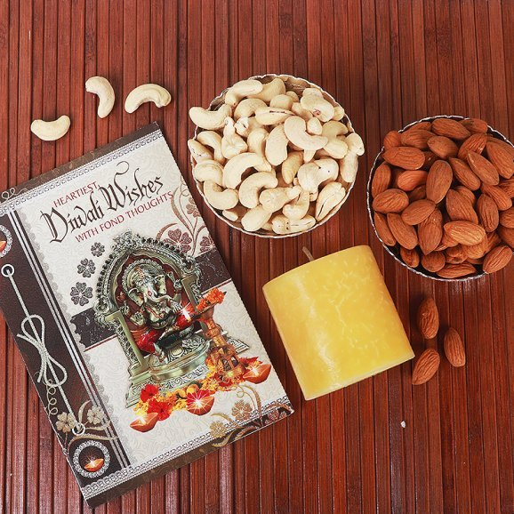 Diwali Special Greeting Card with Dry Fruits and Scented Candle