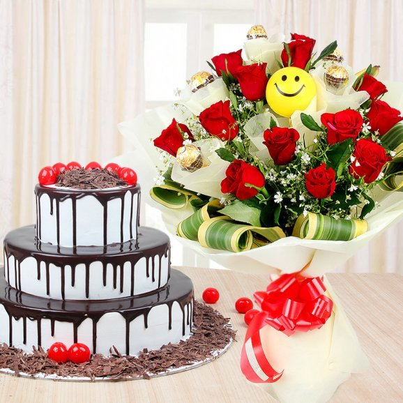 Dripping With Love Combo - 3 tier black forest cake with a bunch of red roses and a smiley