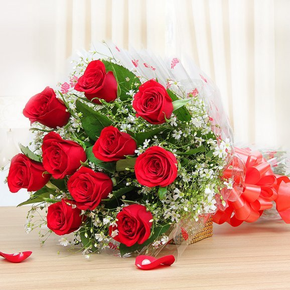 10 red roses bunch - 1st gift of Endearingly Yours