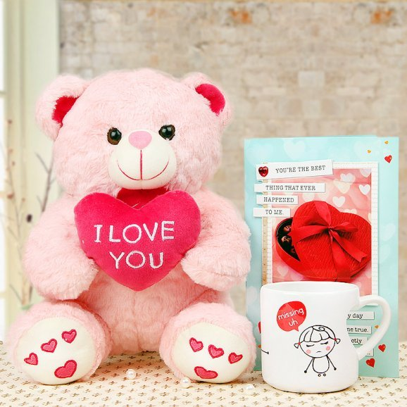 Combo of teddy and card with chocolates